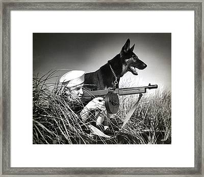 Wwii Us Coast Guard At Work Framed Print by Historic Image