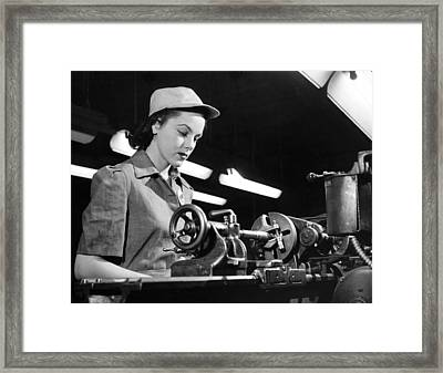 Wwii Woman War Worker Framed Print by Underwood Archives
