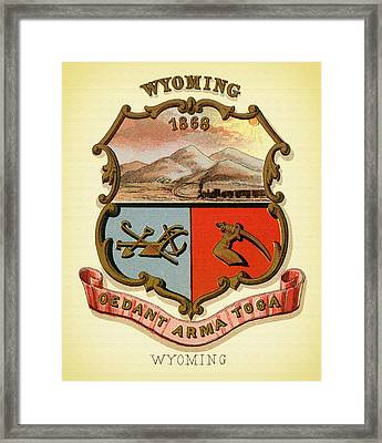 Wyoming Coat Of Arms - 1876 Framed Print by Mountain Dreams