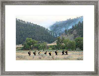 Framed Print featuring the photograph Wyoming Hot Shots Walk To Their Assignment by Bill Gabbert