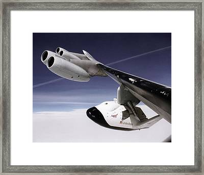 X-38 Spacecraft On B-52 Wing Framed Print by Nasa