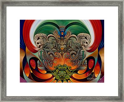 Xiuhcoatl The Fire Serpent Framed Print by Ricardo Chavez-Mendez