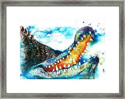 Xxl Format Crocodile Watercolor Framed Print by Tiberiu Soos