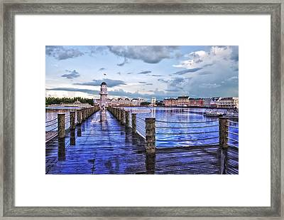Yacht And Beach Club Lighthouse Framed Print by Thomas Woolworth