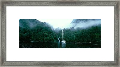 Yacht In The Ocean, Fiordland National Framed Print by Panoramic Images