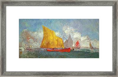 Yachts In A Bay Framed Print by Odilon Redon