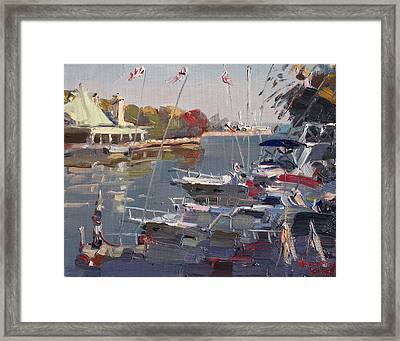 Yachts In Port Credit  Framed Print by Ylli Haruni
