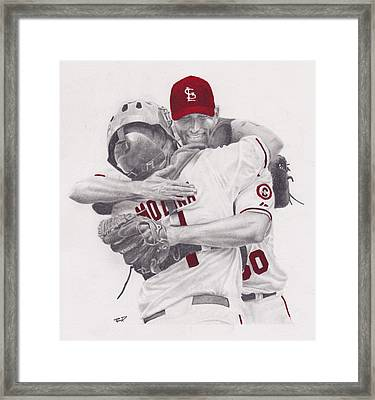 Yadi And Waino Framed Print by Robert Douglas