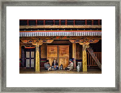 Yak Butter Tea Break At The Potala Palace Framed Print by Joan Carroll