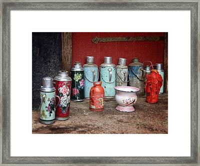 Yak Butter Thermoses Framed Print by Joan Carroll