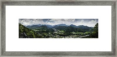 Yamadera View Panorama In Colour Framed Print by Nathan Spotts