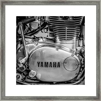 Yamaha Racing Bike Engine Kick Start - Square - Black And White Framed Print by Ian Monk