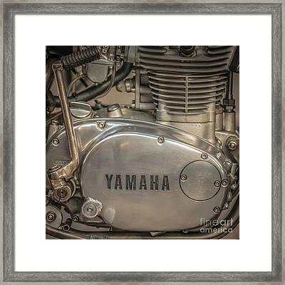 Yamaha Racing Bike Engine Kick Start - Square Framed Print by Ian Monk