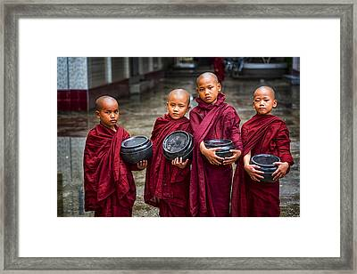 Yangon Young Monks Framed Print by David Longstreath