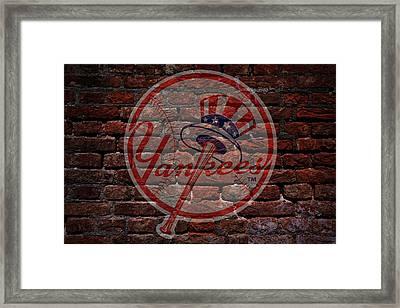 Yankees Baseball Graffiti On Brick  Framed Print by Movie Poster Prints