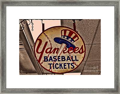 Yankees Baseball Framed Print by Tommy Anderson