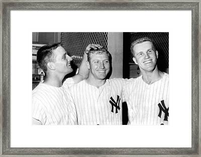 Yankees Celebrate Victory Framed Print by Underwood Archives