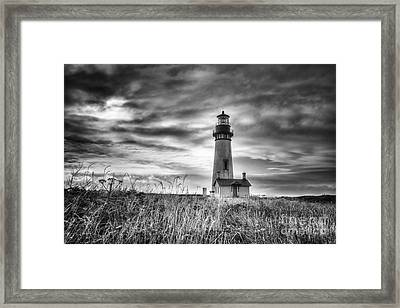 Yaquina Head Lighthouse Black And White Framed Print by Mark Kiver