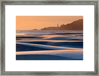 Yaquina Head Swirling Sands Framed Print by Katherine Gendreau