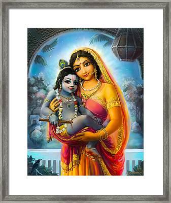 Yashoda And  Krishna Framed Print by Lila Shravani