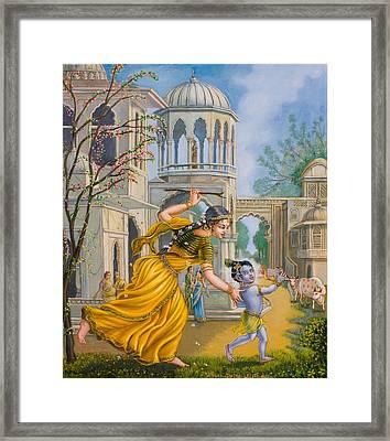 Yashoda Chasing Baby Krishna Framed Print by Dominique Amendola