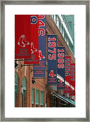 Yawkey Way Red Sox Championship Banners Framed Print by Juergen Roth