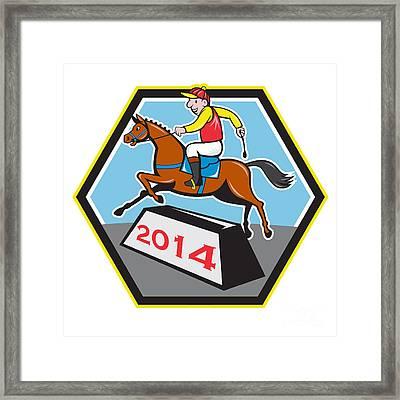 Year Of Horse 2014 Jockey Jumping Cartoon Framed Print by Aloysius Patrimonio