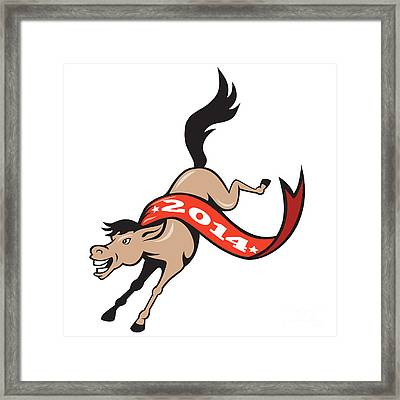 Year Of Horse 2014 Jumping Cartoon Framed Print by Aloysius Patrimonio