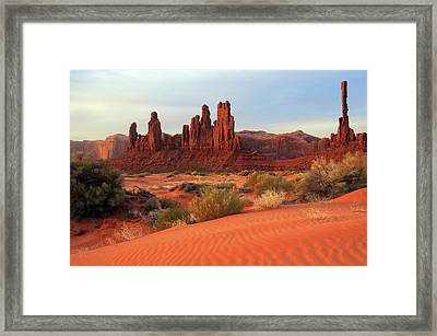 Yei Bi Chei And Totem Pole In Early Framed Print by Michel Hersen