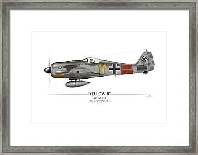 Yellow 11 Focke-wulf Fw 190 - White Background Framed Print by Craig Tinder