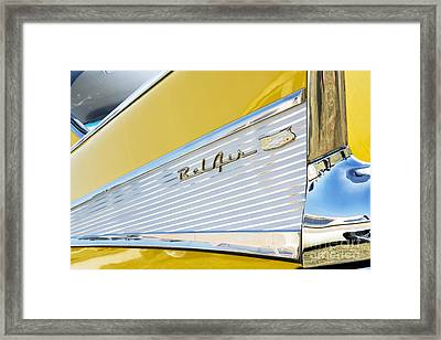 Yellow 1957 Chevrolet Bel Air Tail Fin Framed Print by Tim Gainey