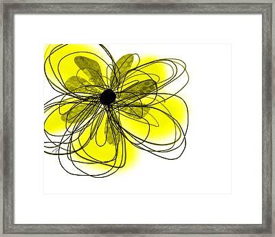 Yellow Abstract Flower Art  Framed Print by Ann Powell