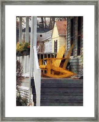 Yellow Adirondack Rocking Chairs Framed Print by Susan Savad