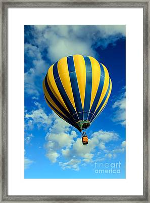 Yellow And Blue Striped Hot Air Balloon Framed Print by Robert Bales