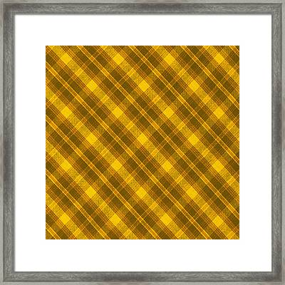 Yellow And Brown Diagonal Plaid Pattern Cloth Background Framed Print by Keith Webber Jr