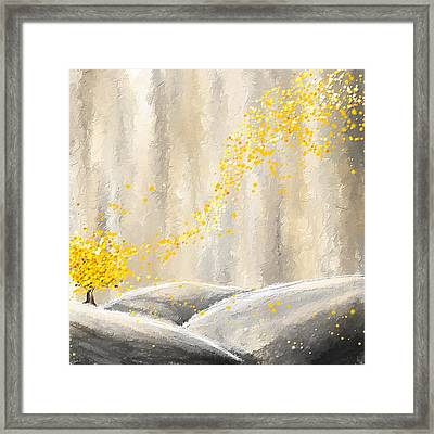 Yellow And Gray Landscape Framed Print by Lourry Legarde