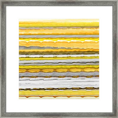 Yellow And Gray Stripes Art Framed Print by Lourry Legarde