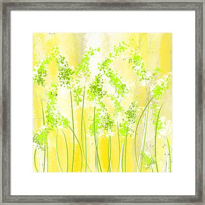 Yellow And Green Art Framed Print by Lourry Legarde
