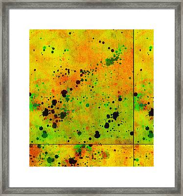 Yellow And Green Color Splash Abstract Art Framed Print by Ann Powell