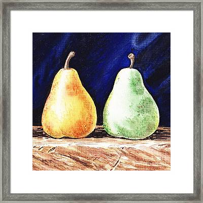 Yellow And Green Pear Framed Print by Irina Sztukowski