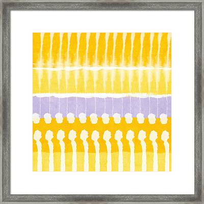 Yellow And Grey Tie Dye Framed Print by Linda Woods