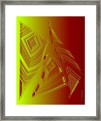 Yellow And Orange Triangles Framed Print by Mario Perez