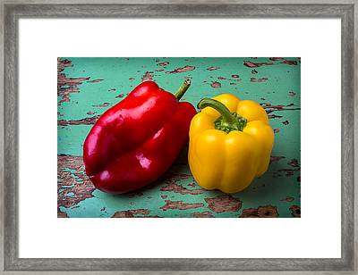 Yellow And Red Bell Pepper Framed Print by Garry Gay