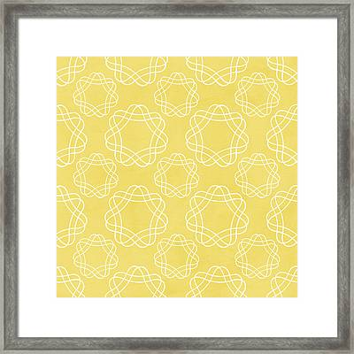 Yellow And White Geometric Floral  Framed Print by Linda Woods