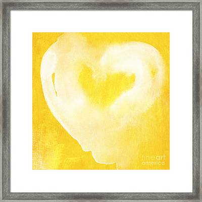 Yellow And White Love Framed Print by Linda Woods