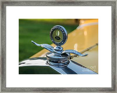 Yellow Antique Ford Hood Ornament With Wings Framed Print by Iris Richardson