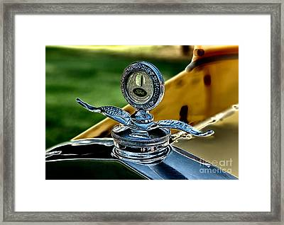 Yellow Antique Ford Hoodornament Framed Print by Iris Richardson