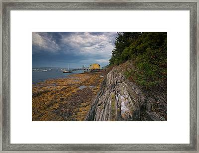 Yellow Boat House Framed Print by Darylann Leonard Photography
