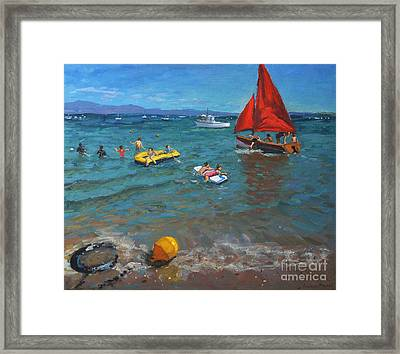 Yellow Buoy And Red Sails Framed Print by Andrew Macara