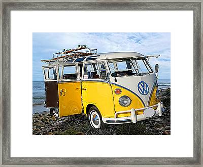 Yellow Bus At The Beach Framed Print by Ron Regalado